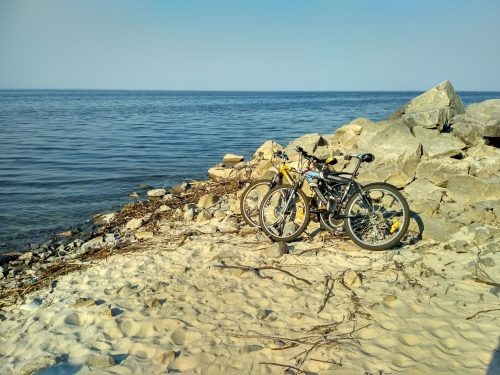 Велосипеды на берегу Днепра